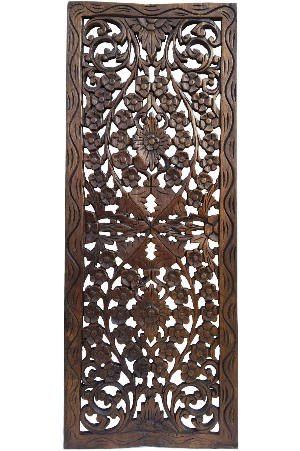 Floral wood carved wall panel hanging asian home