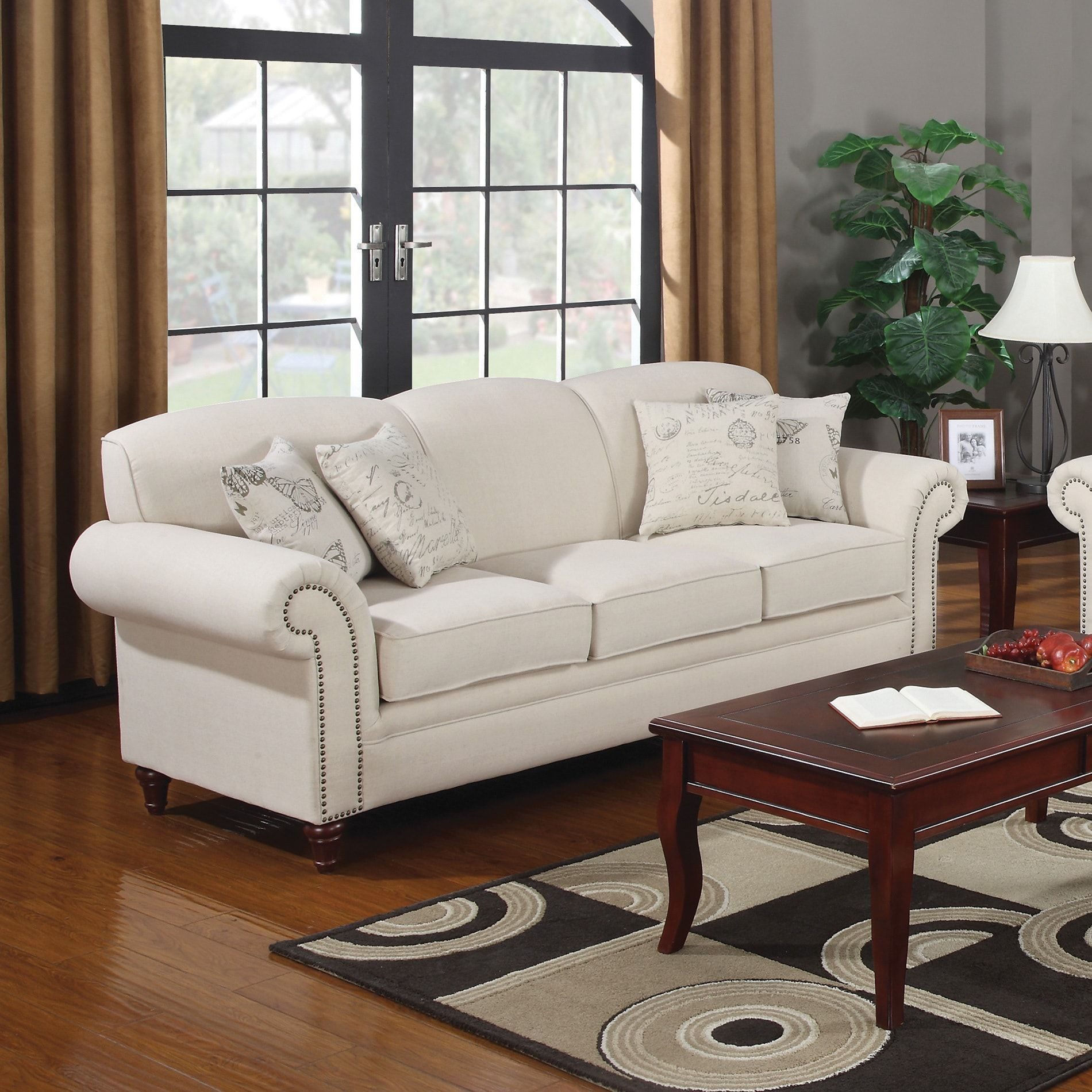 Coaster Company Nailhead Trim Beige Linen Sofa/Loveseat | Overstock.com  Shopping   The Best Deals On Sofas U0026 Loveseats