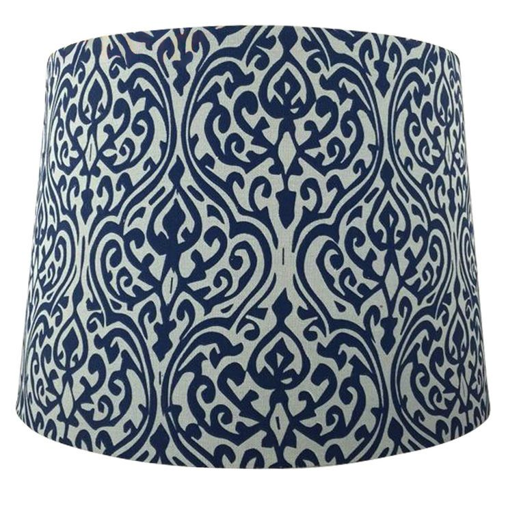 15 Navy White Patterned Lamp Shade 12x14 In Shabby Chic Lamp Shades Pottery Barn Lamp Shades Lamp Shade
