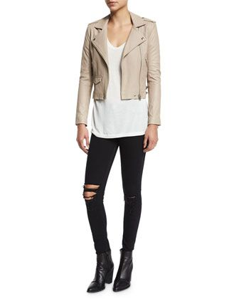 b2ff47cbcd Ashville Leather Jacket, Britney Short-Sleeve T-Shirt & Irma Distressed  Skinny Jeans by IRO at Neiman Marcus.
