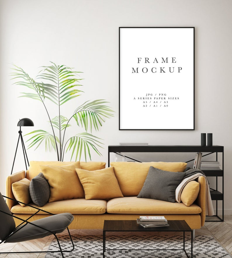 Frame Mockup 176 Black Portrait Photo Frame Styled Thin Frame Mock Up A4 Wall Art Display Yellow Interior Wall Mockup Psd Smart Object In 2020 Frame Mockups Hipster Interior Modern Frames #picture #frames #in #living #room