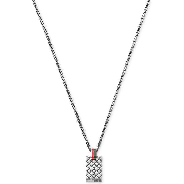 Gucci Men's Sterling Silver Diamond Pattern Pendant Necklace... ($315) ❤ liked on Polyvore featuring men's fashion, men's jewelry, men's necklaces, silver, gucci mens necklace, mens pendant necklaces, mens necklaces, mens sterling silver necklace and mens watches jewelry