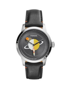 Fossil  Mens Black Leather Townsman Three-Hand Watch