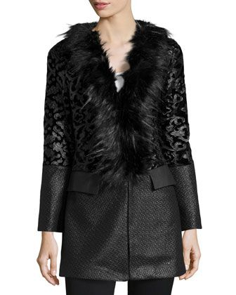 Faux-Fur-Trim Filigree-Embroidered Jacket, Black by Neiman Marcus at Neiman Marcus Last Call.