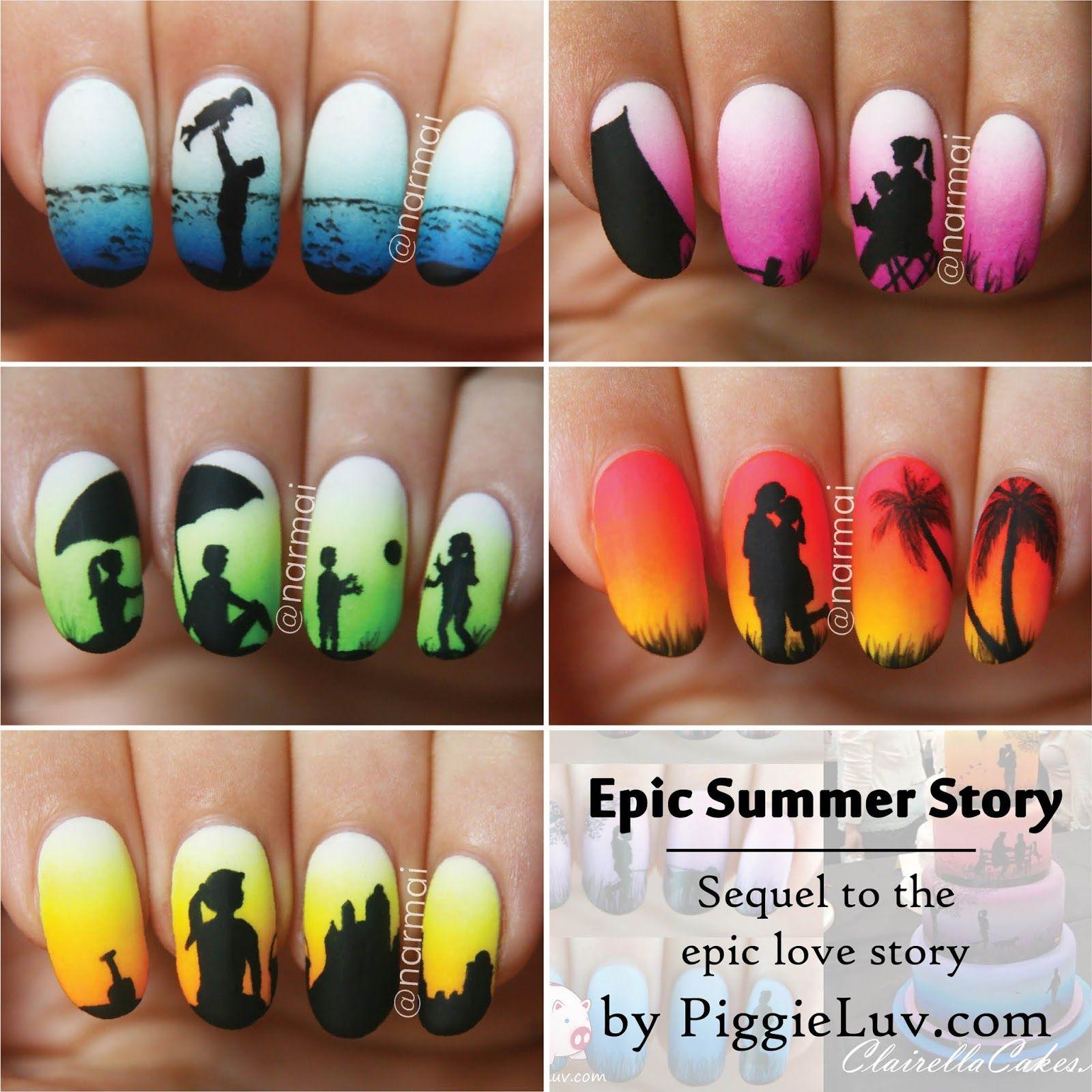 Epic Summer Story (5 glow in the dark manis!!!) + video tutorial ...