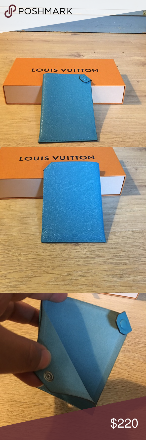Hermes Tarmac Leather Turquoise Passport Cover Stunning passport case in like new condition. Leather is absolutely beautiful and clean. I recently purchased this item but just bought a LV case. TV higher Hermes Accessories