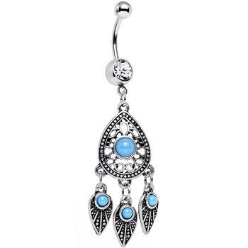 Clear gem faux turquoise dreamcatcher chandelier belly ring body clear gem faux turquoise dreamcatcher chandelier belly ring body candy body jewelry mozeypictures Images
