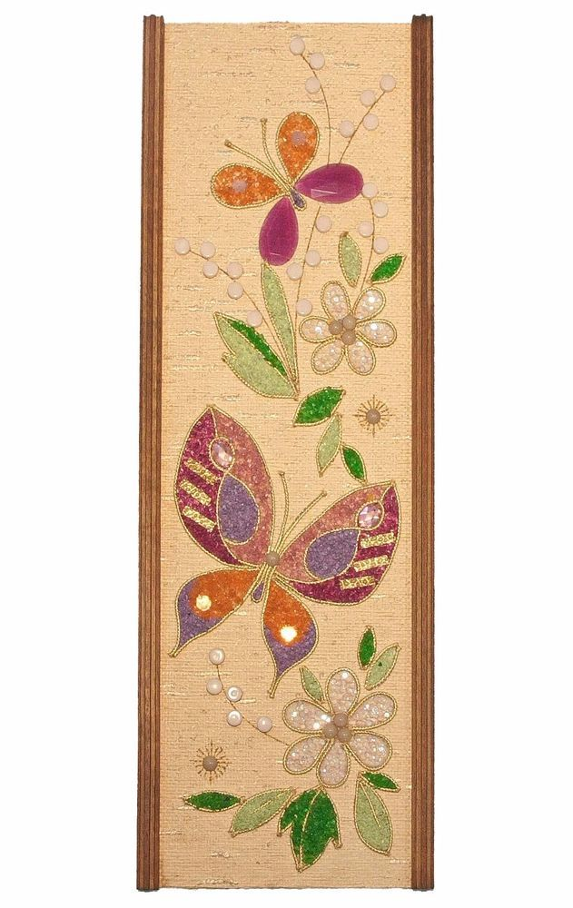 Vintage Mid Century Butterflies & Flowers Gravel Pebble Mosaic Wall ...