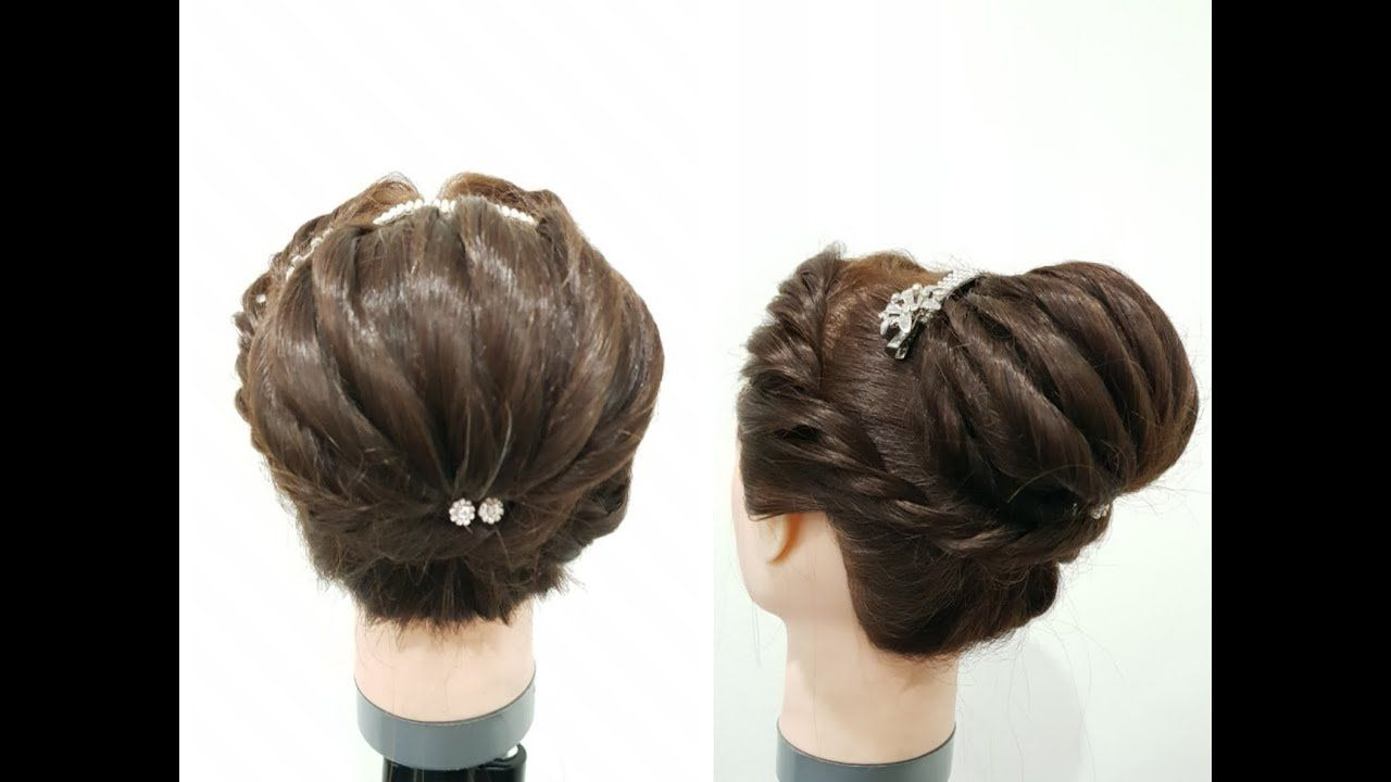 New Juda Hairstyle with Gown  Hairstyle for Medium Hair  Party