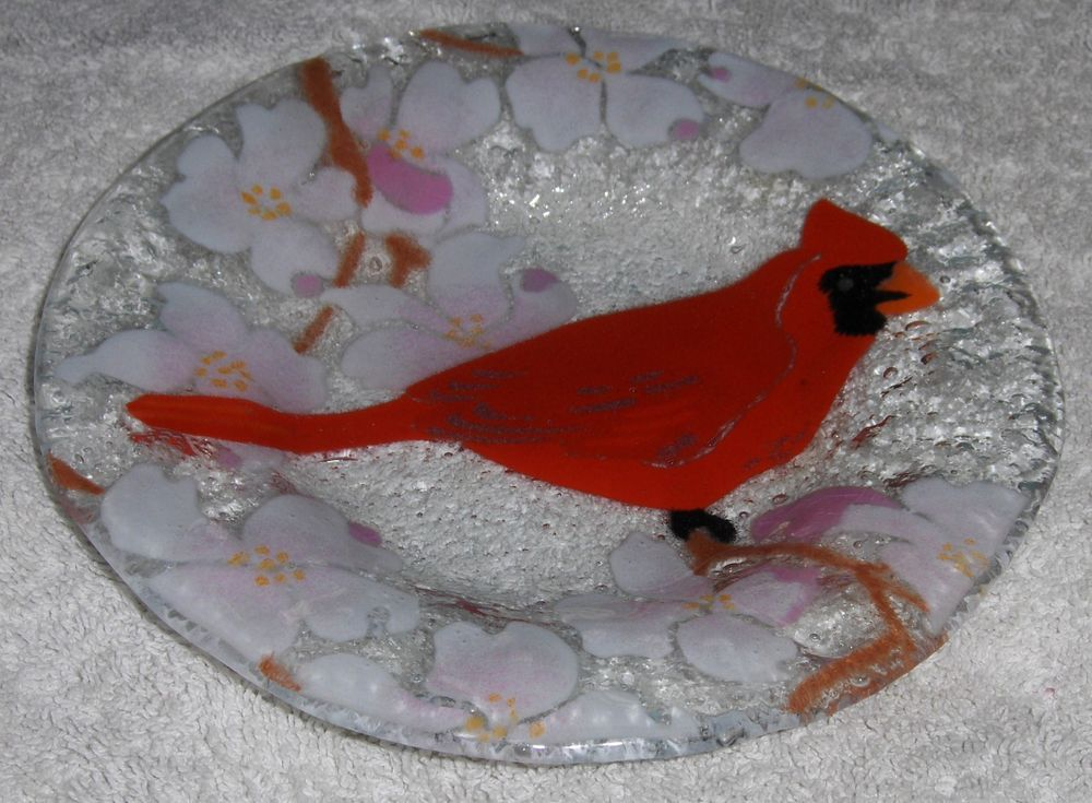 Vtg Fused Art Glass Ruby Red Cardinal Dish Floral Bird Plate By Anne C. Ross