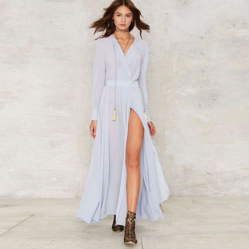 0b72dc5e55fb Long sleeve light blue maxi wrap dresses women V neck draped high slit sexy  bohemian dress ladies high waist chiffon beach dress