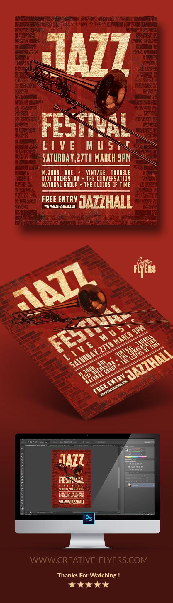 Jazz Festival Vintage Flyer Psd Template - Creativeflyers | Flyer Templates  | Pinterest | Creative Flyers, Flyer Template And Jazz Festival