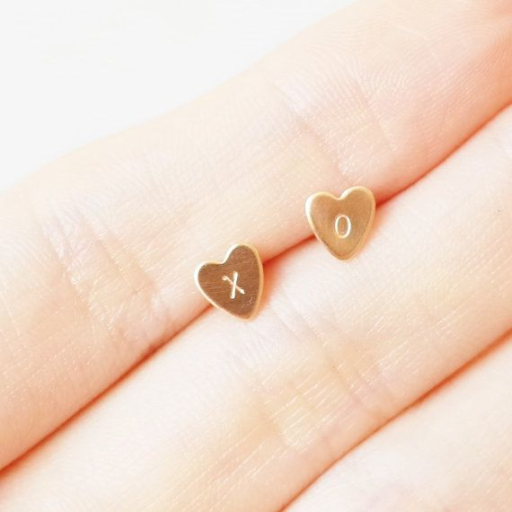 XO earrings. Personalized Initials Dainty Brass Gold Heart Sterling Silver Earring Studs/ hand stamped flat brass disc post earrings by LibiClozet