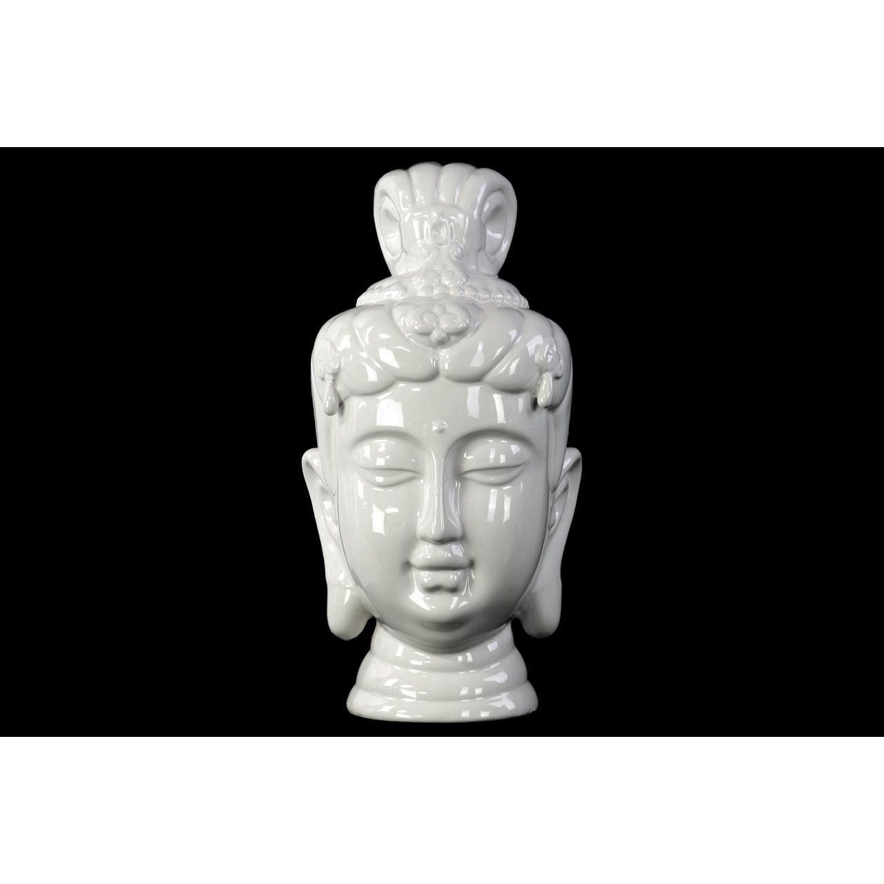 Buddha Head Decor Urban Trends Collection Ceramic Buddha Head Decor Gloss White
