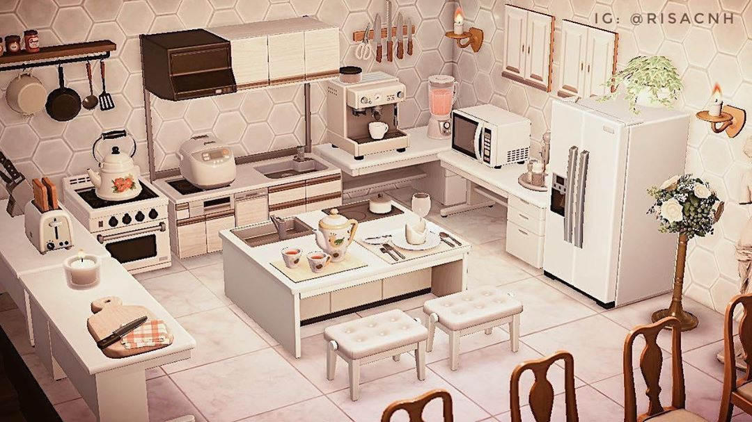 "new horizons island designs on Instagram: ""white kitchen ... on Animal Crossing Kitchen Island  id=42131"