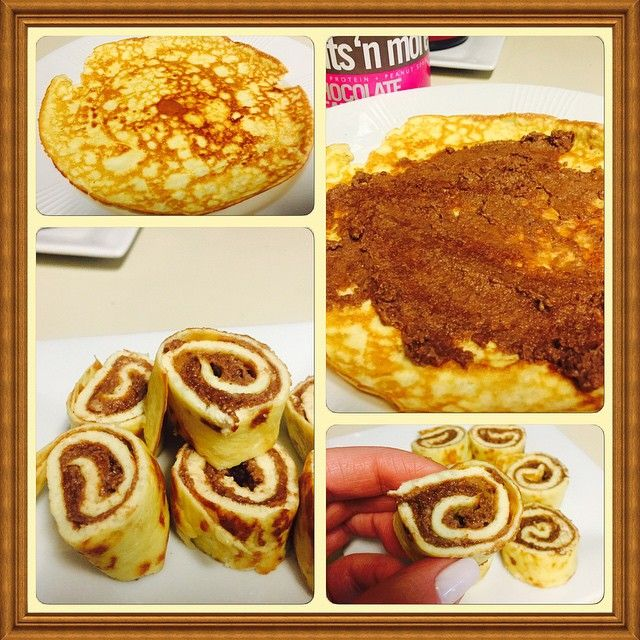 """""""Snack! Made a crepe (1 egg, 1 tbsp almond flour,1tbsp table cream) and filled with a mix of cellucor molten cake whey, nuts n more choco peanut butter and…"""""""