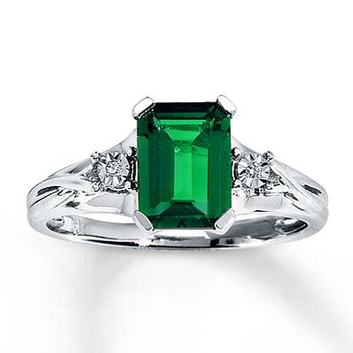 lab created emerald ring diamond accents 10k white gold. Black Bedroom Furniture Sets. Home Design Ideas