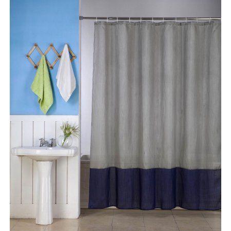 1PC H10 SILVER NAVY BLUE FAUX SILK 2 SHADES SOLID Bathroom BATH FABRIC SHOWER CURTAIN WATER REPELLENT 72 X72