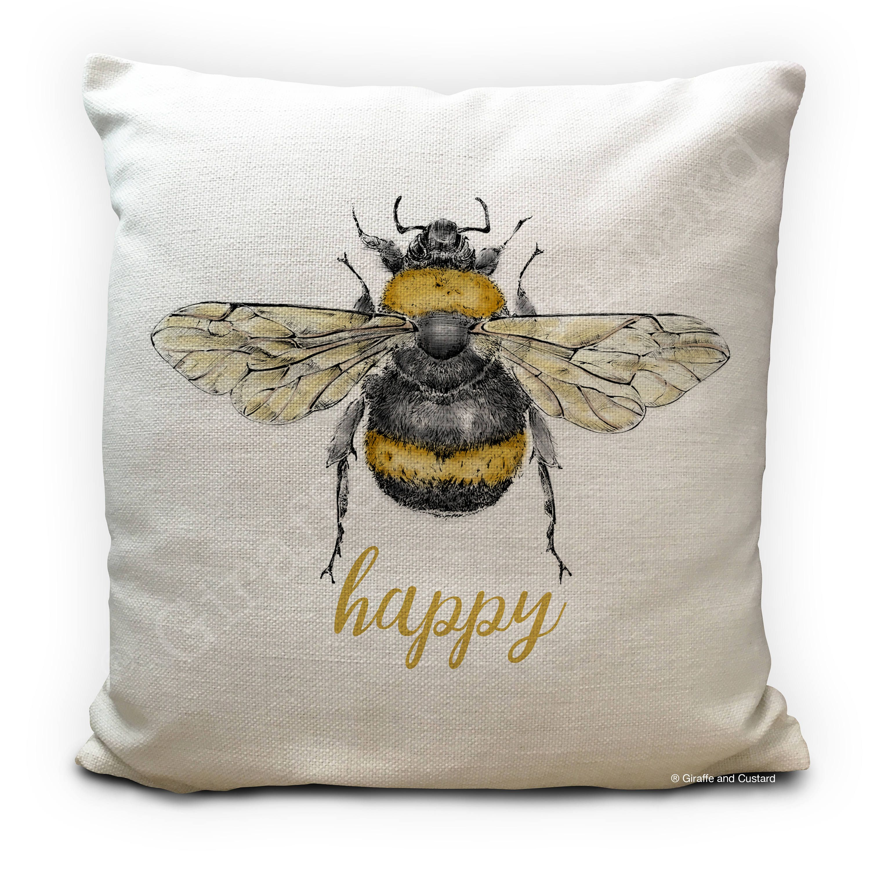 Bee Cushion Pillow Cover Hy Be Honey Ble Vintage Ilration