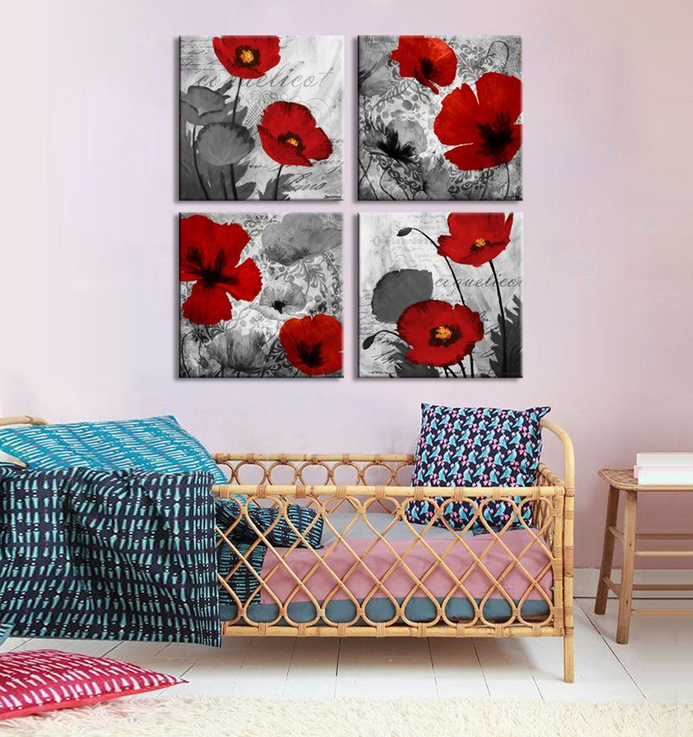 Amazon Com Black And White Paintings Floral Poppy Landscape Contemporary Artwork Giclee Canvas Materials Hanging In Bedroom Dining Room Rea Contemporary Artwork