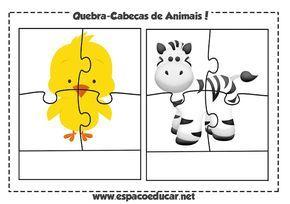 Jogo Educativo Gratis Quebra Cabeca De Animais Para Imprimir E