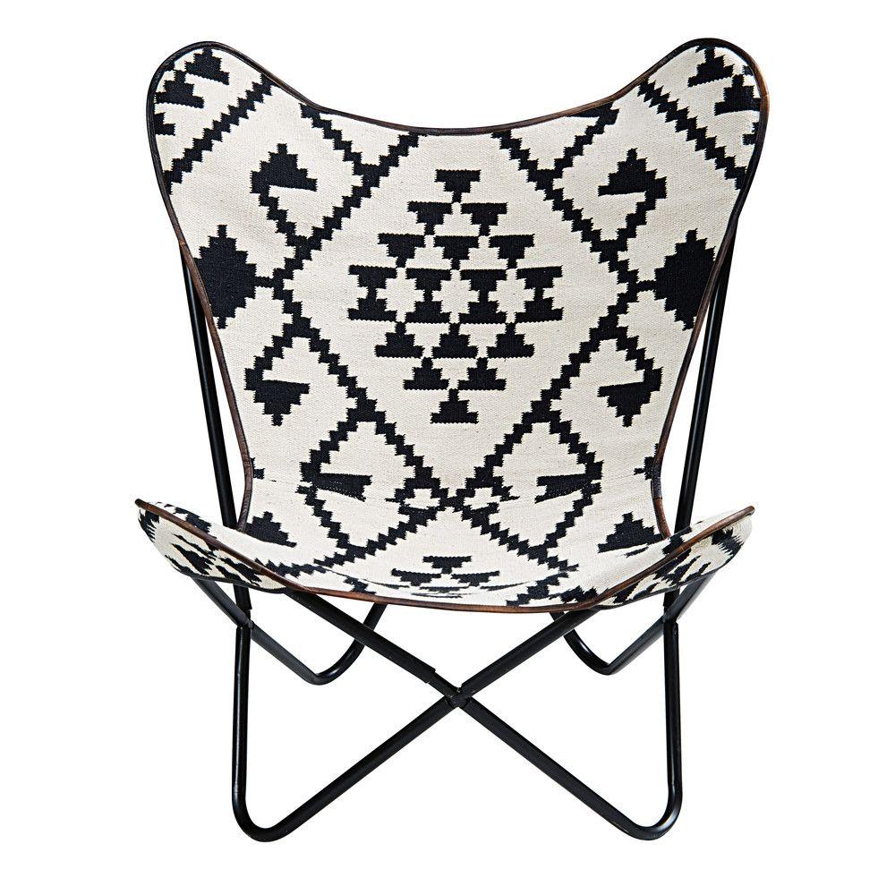 fauteuil en kilim motifs noirs et blancs palmyre motif noir et fauteuils. Black Bedroom Furniture Sets. Home Design Ideas