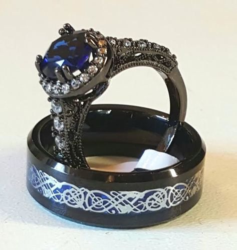 dragon wedding ring new 2016 dramatic black tungsten carbide with blue celtic 3678