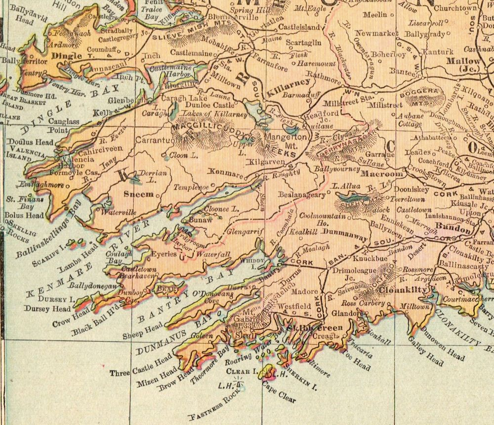 1901 Antique IRELAND MAP Vintage Original Map of Ireland Gallery ...