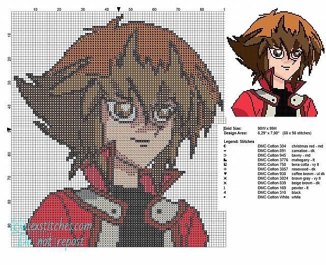 Jaden Yuki Yu Gi Oh Character Free Cross Stitch Patterns