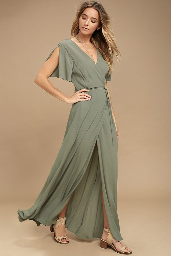d2d7dbe5966616 We re forever grateful we found the Much Obliged Washed Olive Green Wrap  Maxi Dress! Gauzy woven rayon drapes into a sultry surplice bodice