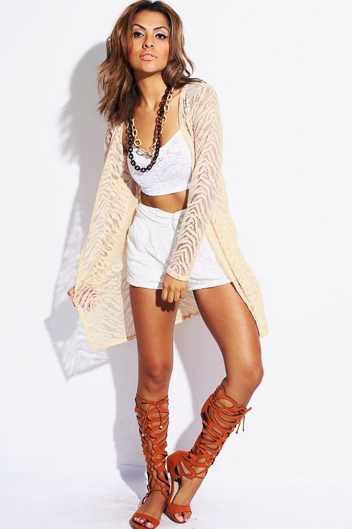 86a183f5577c6  1015store.com  fashion  style PLUS SIZE Beige sheer zebra lace duster  cardigan- 15.00