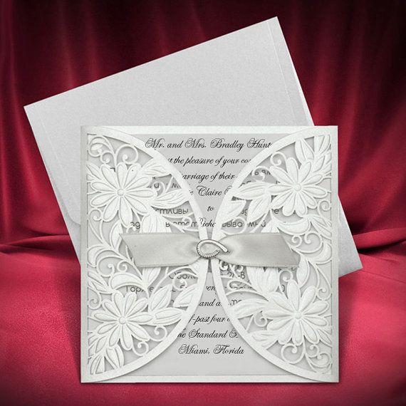 Beautiful Invite Original Invitations Silver Color Wedding Invitation Bridal Laser Cut Design Creative Rsvp