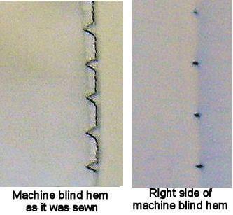 Left side = machine blind hem as sewn Right side = right side of hem