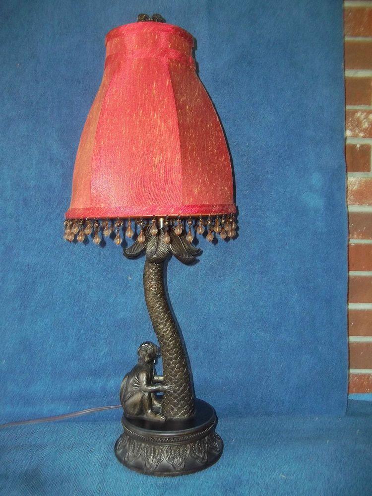 Monkey In Turban Palm Tree Lamp 27 1 2 Tall With Shade Vguc Lamp Tree Lamp Beautiful Lamp