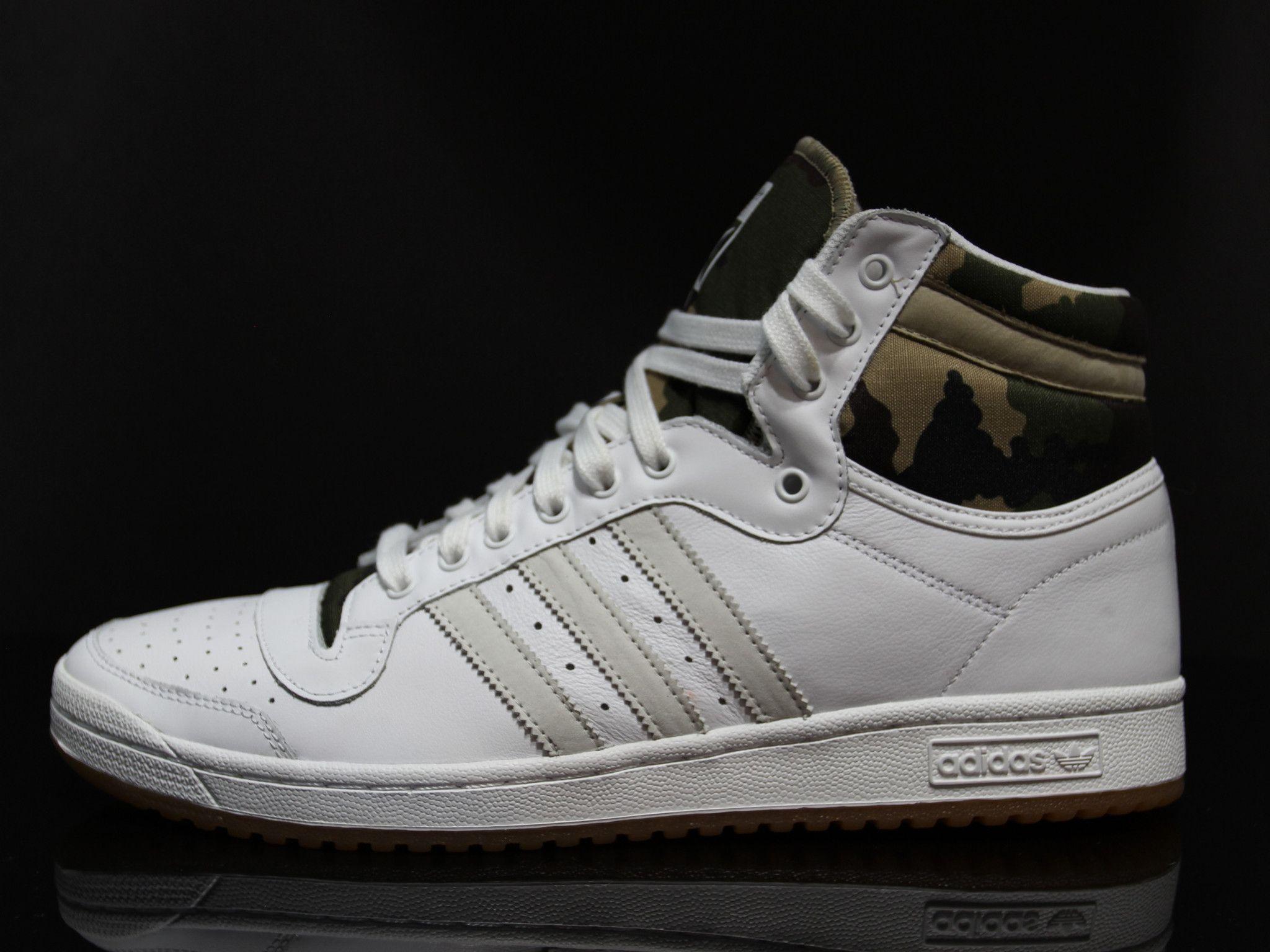 Adidas Originals Top Ten Hi White Leather Hemp Camo Sneakers