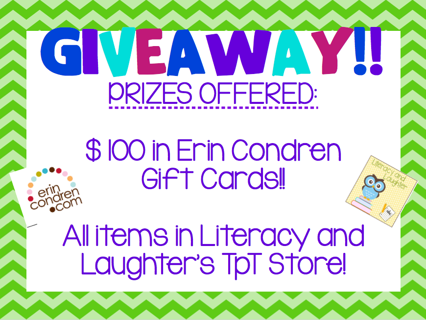 Literacy and Laughter - Celebrating Kindergarten children and the books they love: GIVEAWAY!!! $100 in Erin Condren Gift Cards Up for Grabs!...