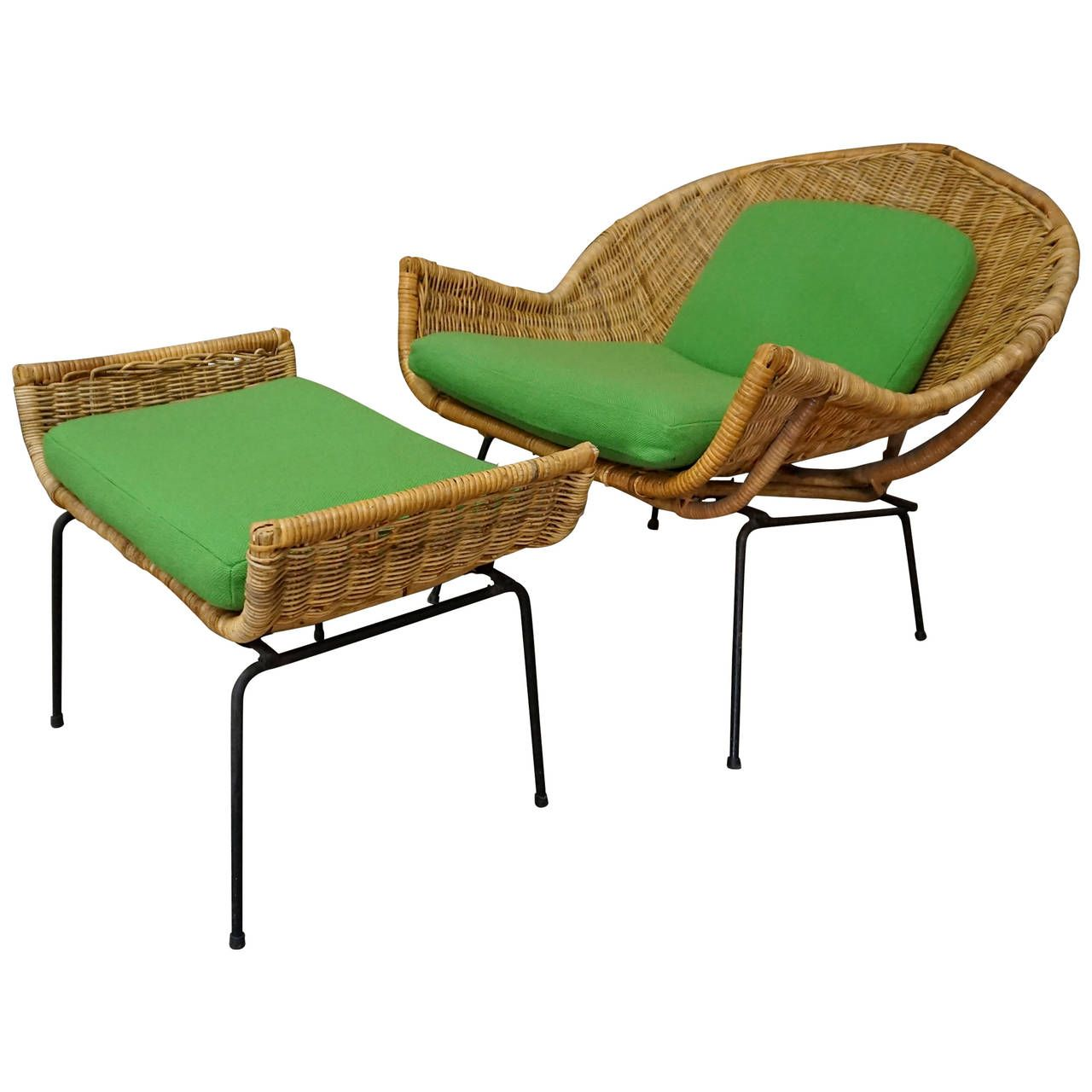 Rattan Lounge Chair and Ottoman by Danny Ho Fong for Tropi-Cal ...