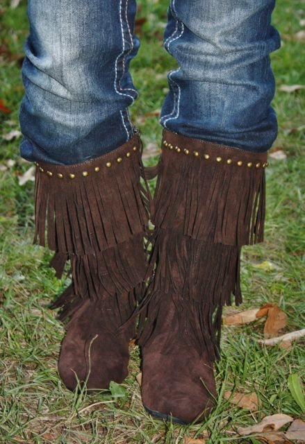 Chocolate Brown Fringe Boots $39.95 http://www ...