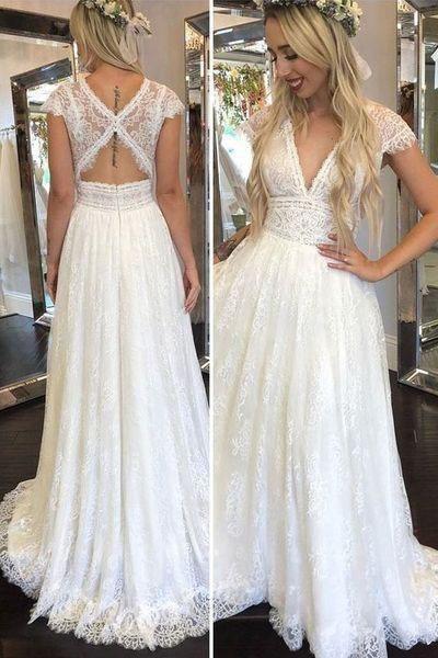 Simple Deep V Neck Lace Appliques Open Back Ivory Wedding Dresses Bridal Gowns 6