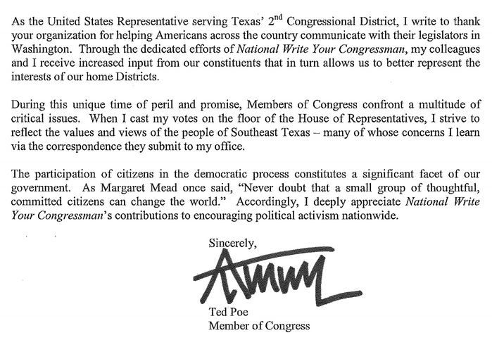 Lloyd Ted Poe Currently Represents Texas S 2nd Congressional