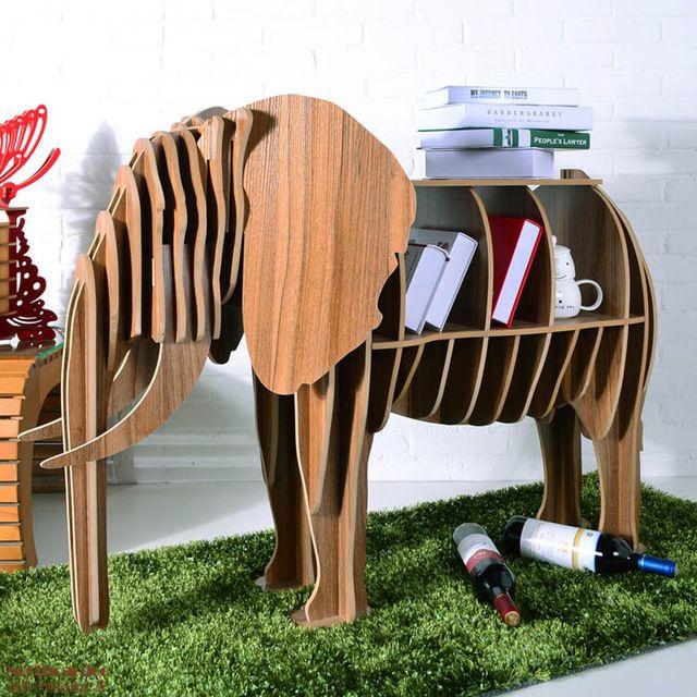 Elefante mesa rompecabezas muebles animales creativo mdf for Muebles de mdf