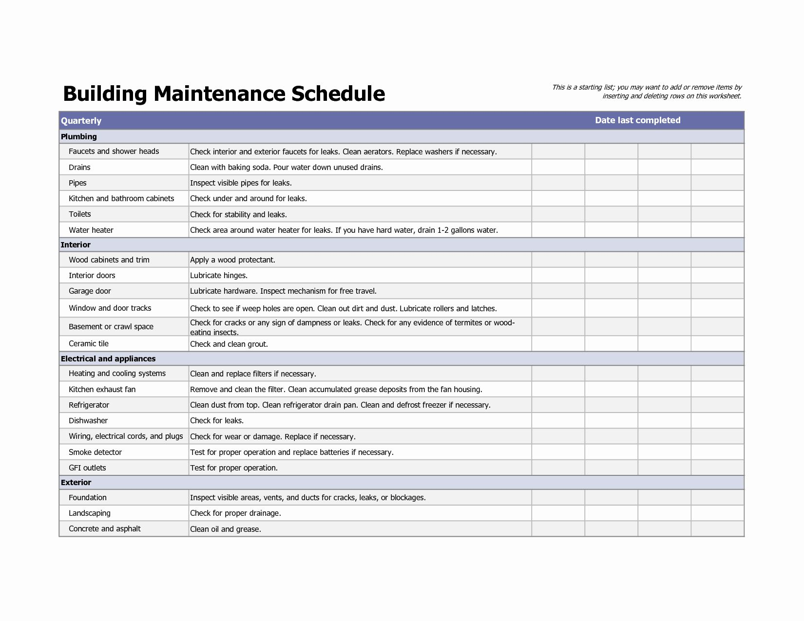 Facility Maintenance Checklist Template Fresh Building Maintenance Schedule Excel Templ Building Maintenance Facilities Maintenance Cleaning Schedule Templates Building maintenance checklist template free