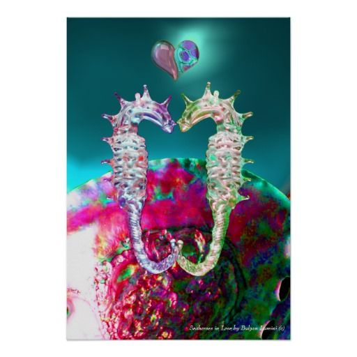 SEAHORSES IN LOVE AND PINK TEAL BLUE MOTHER OF PEARL Original Digital Art Print by Bulgan Lumini (c)