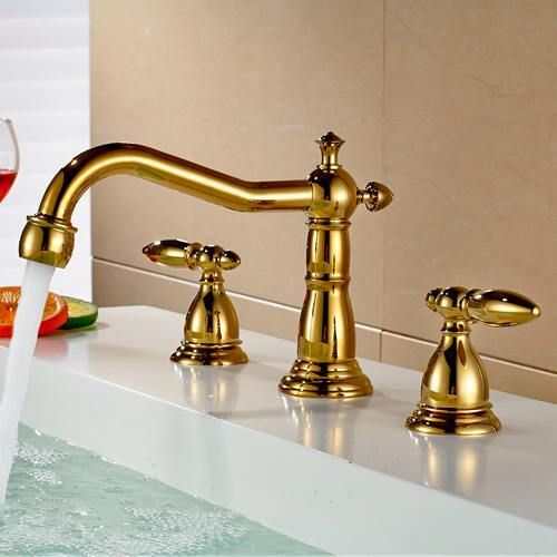 Bathroom Faucet 3 Hole Double Handle Golden Solid Brass Waterfall ...