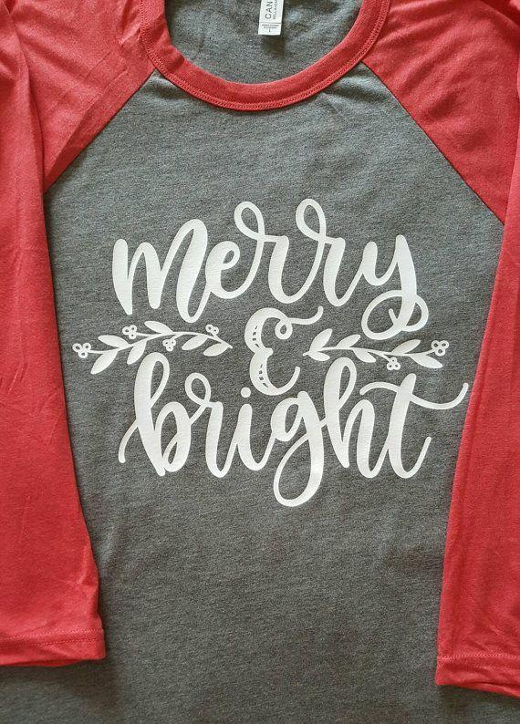 Merry and Bright Raglan Shirt Christmas Shirt Christmas