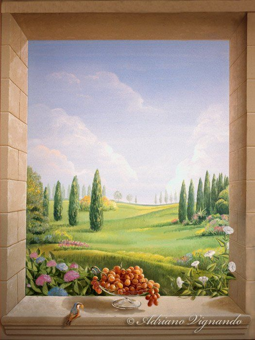 finestra con uva trompe l 39 oeil wall art pinterest. Black Bedroom Furniture Sets. Home Design Ideas