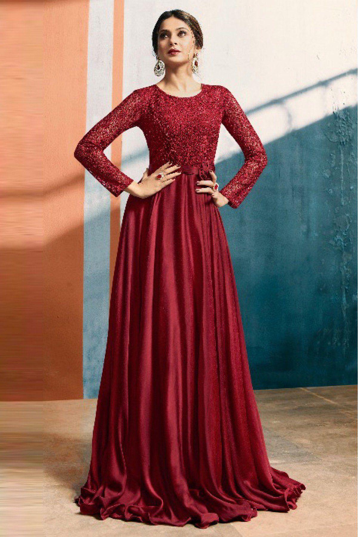 Jennifer Winget Satin Silk Gown In Maroon Colour Gown Party Wear