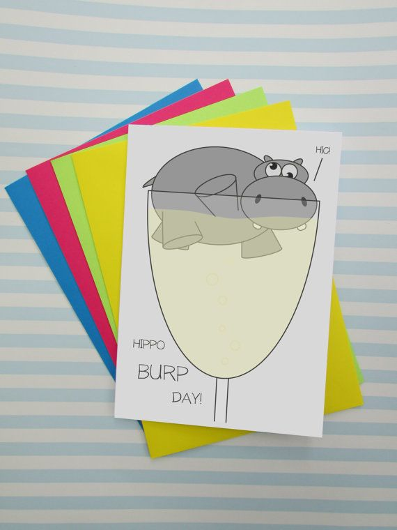 Cheesy Funny Cute Birthday Card By Cushobi Puns Birthday Hippo