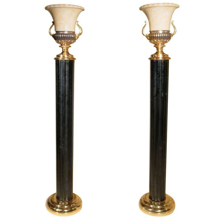 Column Floor Lamp Gorgeous Art Deco Pair Fluted Column Torchieres Floor Lamps With
