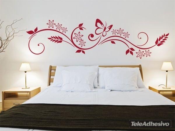 Vinilos decorativos flores y mariposa deco vinilo - Mariposas decoracion pared ...